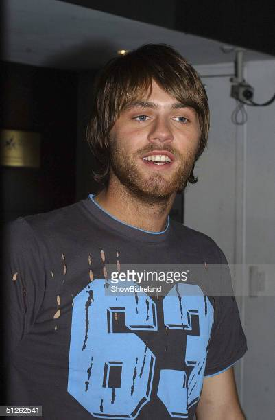 Former Westlife member Brian McFadden appears on RTE's 'Late Late Show', the worlds longest running talk show, September 3, 2004 in Dublin, Ireland.