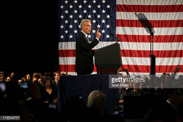 Former White House Chief of Staff and Current Mayorelect of Chicago Rahm Emanuel speaks to supporters of US President Barack Obama during a campaign...