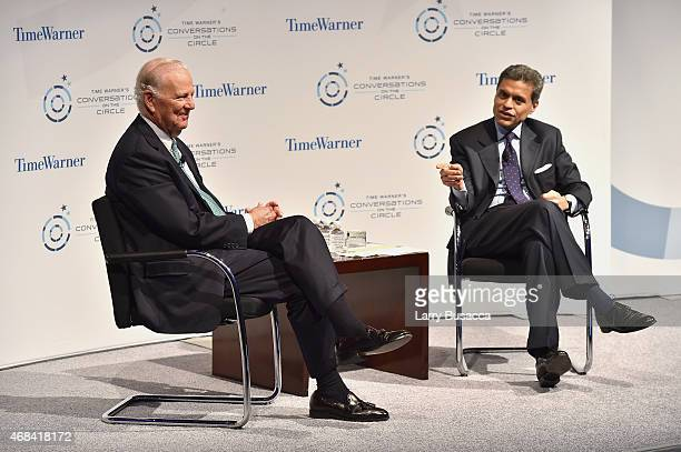 Former White House Chief of Staff James A. Baker, III and journalist Fareed Zakaria speak on stage at Time Warner's Conversations on The Circle: A...