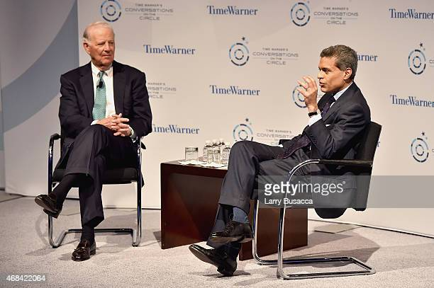 Former White House Chief of Staff James A. Baker, III, and journalist Fareed Zakaria speak on stage at Time Warner's Conversations on The Circle: A...