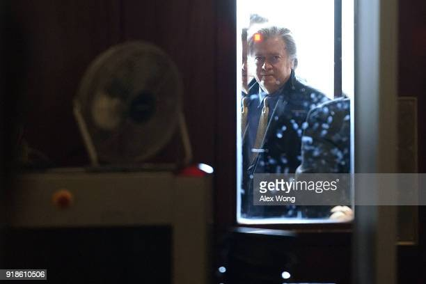 Former White House chief strategist Steve Bannon arrives at a closeddoor meeting with the House Intelligence Committee February 15 2018 on Capitol...