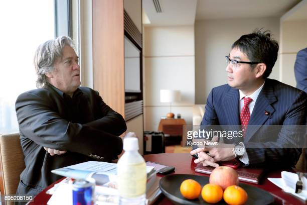 Former White House chief strategist Steve Bannon holds talks with Katsuyuki Kawai a special adviser to Japanese Prime Minister Shinzo Abe in Tokyo on...