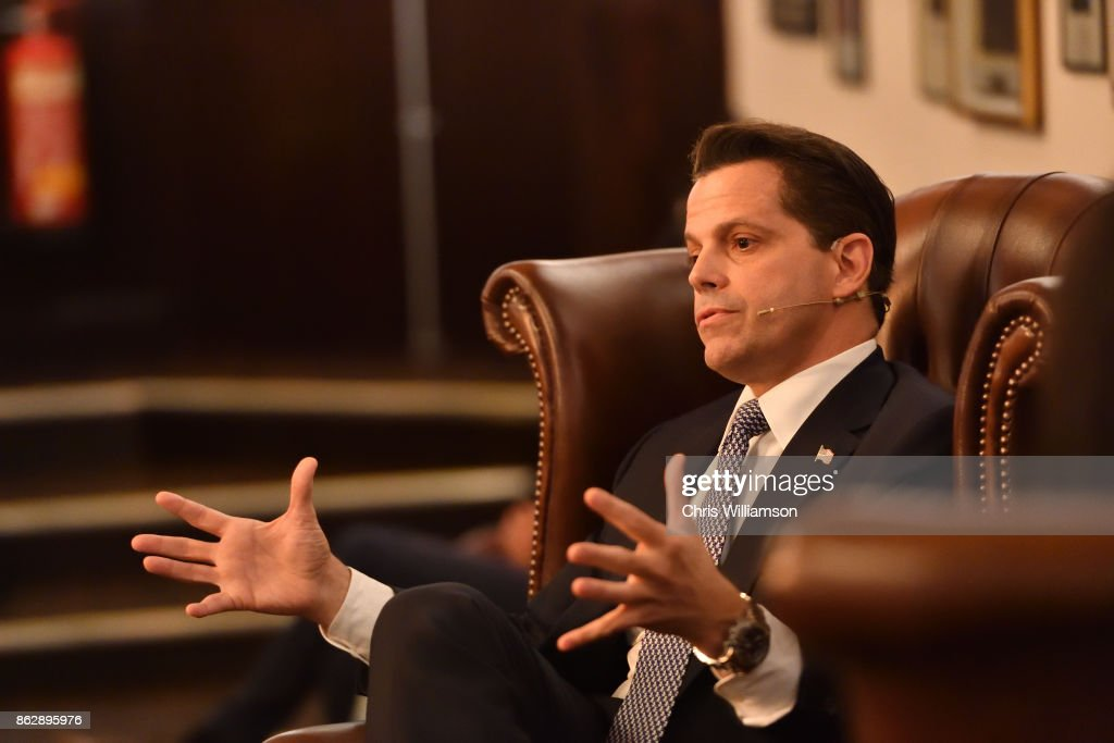 Former White House Communications Director Anthony Scaramucci addresses students at The Cambridge Union on October 18, 2017 in Cambridge, Cambridgeshire.