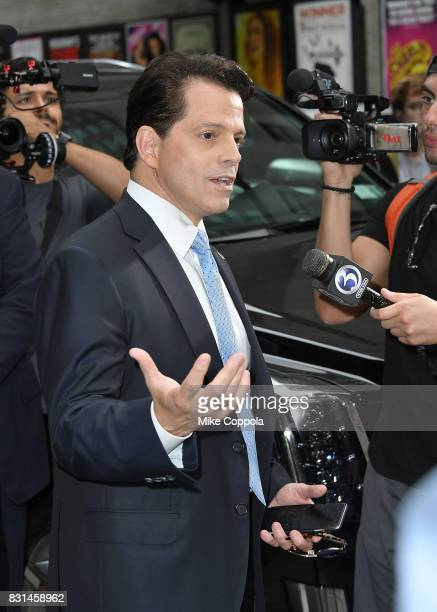 Former White House Communications Director Anthony Scaramucci departs from 'The Late Show With Stephen Colbert' at Ed Sullivan Theater on August 14...