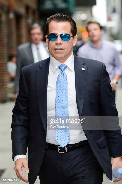 Former White House Communications Director Anthony Scaramucci enters the 'The Late Show With Stephen Colbert' taping at the Ed Sullivan Theater on...