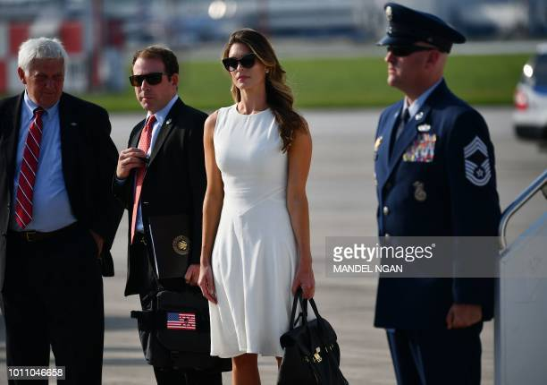 Former White House communications director Hope Hicks arrives at John Glenn Columbus International Airport with US President Donald Trump in Columbus...