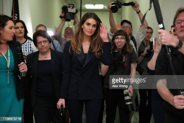 Former White House communications director Hope Hicks leaves the hearing room during a break at a closed-door interview with the House Judiciary...