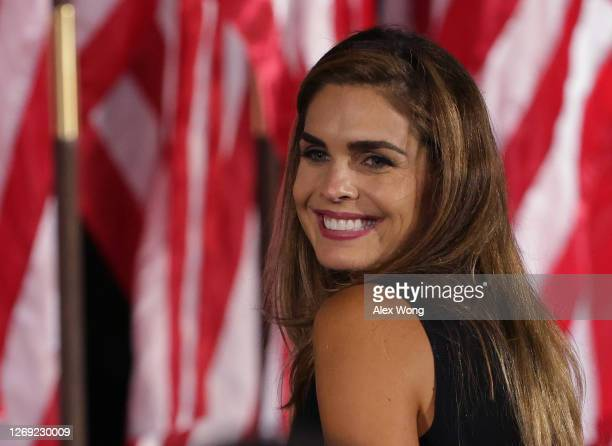 Former White House communications director Hope Hicks reacts following U.S. President Donald Trump's acceptance speech for the Republican...