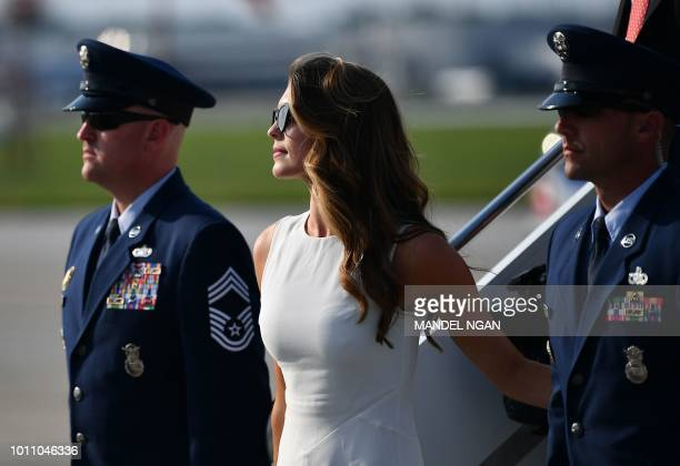 Former White House communications director Hope Hicks steps off Air Force One upon arrival with US President Donald Trump at John Glenn Columbus...