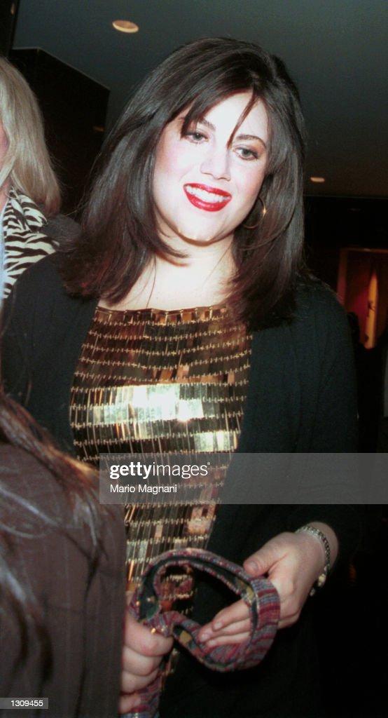 Former White House intern Monica Lewinsky leaves the 2000 New York Magazine Awards December 4, 2000 at Studio 8H at Rockefeller Center in New York City.