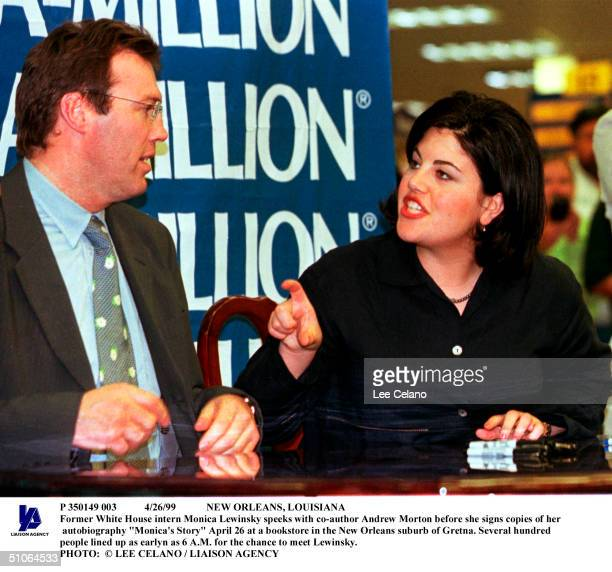 Former White House Intern Monica Lewinsky Speeks With CoAuthor Andrew Morton Before She Signs Copies Of Her Autobiography 'Monica's Story' April 26...