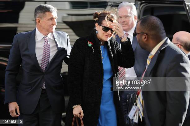 Former White House National Security Advisor Michael Flynn and his wife Lori Andrade arrive at the Prettyman Federal Courthouse before he is...