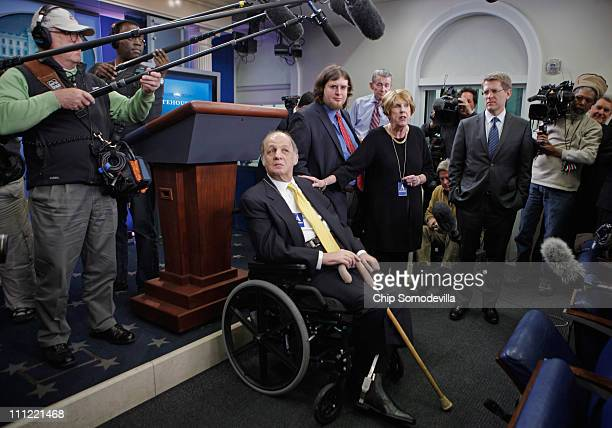 Former White House Press Secretary James Brady , his son Scott Brady and wife Sarah Brady visit the press briefing room that bears his name in the...