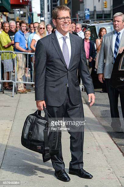 """Former White House Press Secretary Jay Carney leaves the """"Late Show With David Letterman"""" taping at the Ed Sullivan Theater on July 30, 2014 in New..."""