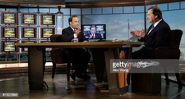 Former White House Press Secretary Scott McClellan speaks as he is interviewed by moderator Tim Russert during a taping of 'Meet the Press' at the...