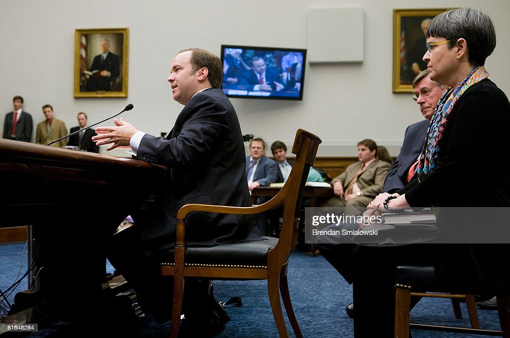 Former White House Press Secretary Scott McClellan (R) speaks during a hearing of the House Judiciary Committee on Capitol Hill June 20, 2008 in Washington, DC. McClellan, a former White House press secretary for U.S. President George W. Bush, appeared before the committee to testify about the leak of CIA agent Valerie Plame's identity.