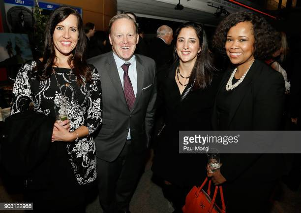 Former White House Press Secretary Sean Spicer and guests attend the National Geographic's Chain of Command premiere at the NEWSEUM on January 9 2018...