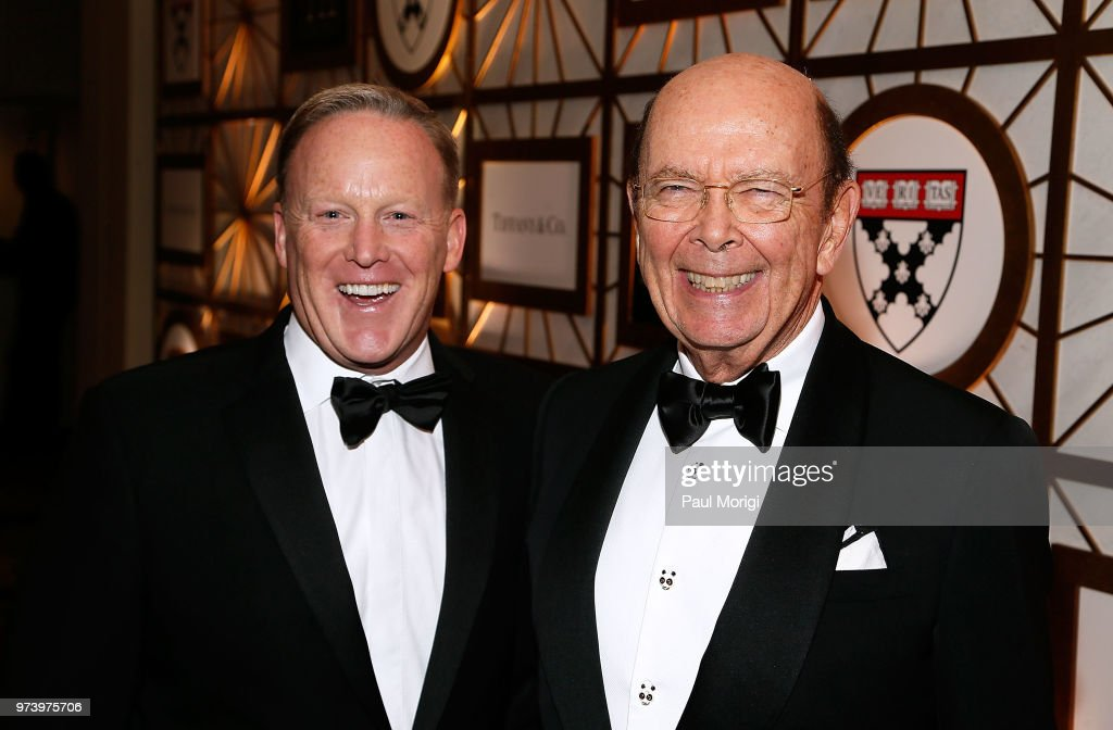 Former White House Press Secretary Sean Spicer (L) and U.S. Secretary of Commerce Wilbur Ross attend the Harvard Business School Club's 3rd Annual Leadership Gala Dinner at the Four Seasons Hotel on June 13, 2018 in Washington, DC.