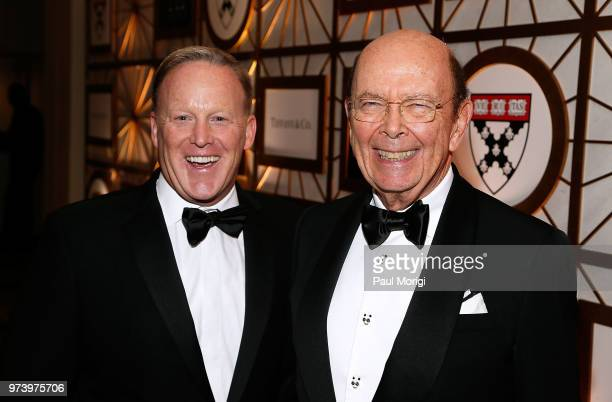 Former White House Press Secretary Sean Spicer and US Secretary of Commerce Wilbur Ross attend the Harvard Business School Club's 3rd Annual...