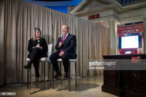 Former White House Press Secretary Sean Spicer answers a few questions from the press at Madame Tussauds wax museum April 25 2018 in New York City...