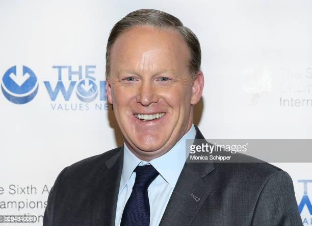 Former White House Press Secretary Sean Spicer attends the 2018 World Values Network Champions of Jewish Values Awards Gala at The Plaza Hotel on...