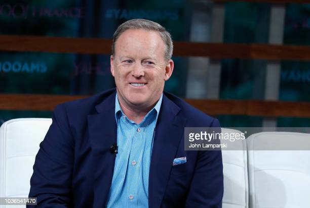 Former White House Press Secretary Sean Spicer speaks during the 2018 Yahoo Finance All Markets Summit at The Times Center on September 20 2018 in...