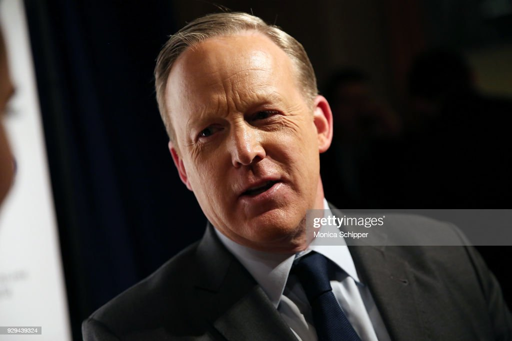 Former White House Press Secretary Sean Spicer speaks to press at the 2018 World Values Network Champions of Jewish Values Awards Gala at The Plaza Hotel on March 8, 2018 in New York City.