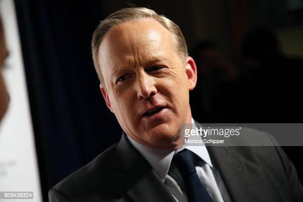 Former White House Press Secretary Sean Spicer speaks to press at the 2018 World Values Network Champions of Jewish Values Awards Gala at The Plaza...
