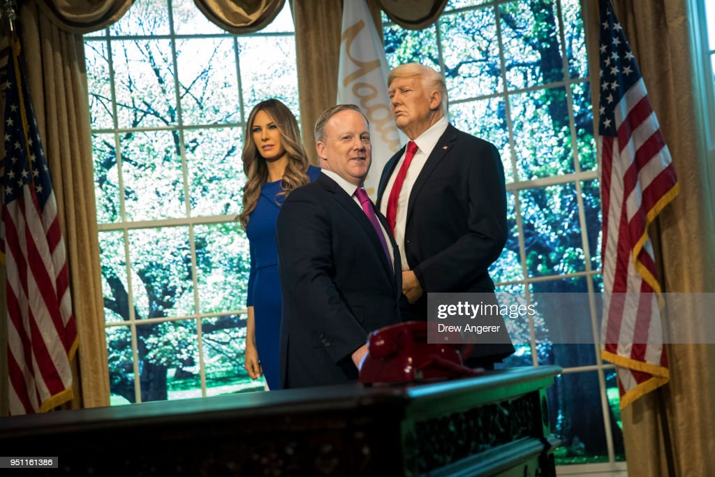 Sean Spicer Appears At Madame Tussaud's Unveil Of Melania Trump Wax Figure