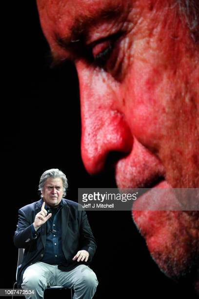 Former White House strategist Steve Bannon is interviewed by Sarah Smith from the BBC as he takes part in the News Xchange 2018 conference on...