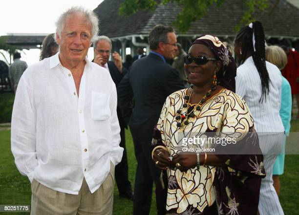 Former wife of Bob Marley Rita Marley and Chris Blackwell are seen in the gardens of Strawberry Hill on March 14 2008 in Kingston Jamaica The Royal...