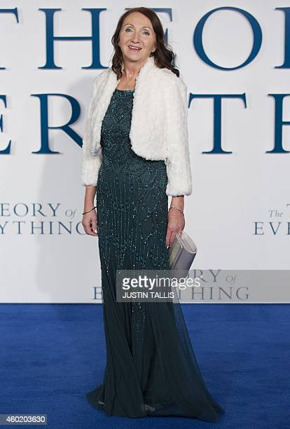Former wife of British scientist Stephen Hawking Jane Hawking poses as she arrives for the UK premiere of the film 'The Theory of Everything' in...