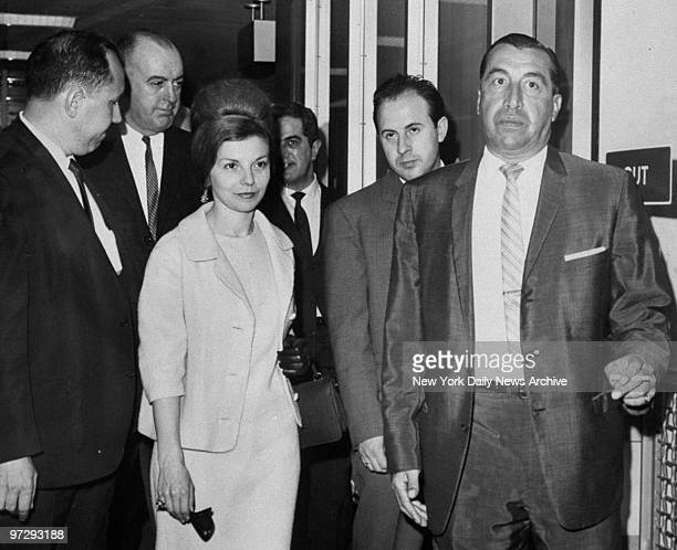 Former wife of dictator Juan Peron Isabella Martinez Peron walking from plane as she stopped off at Kennedy Airport in New York en route to Paraguay