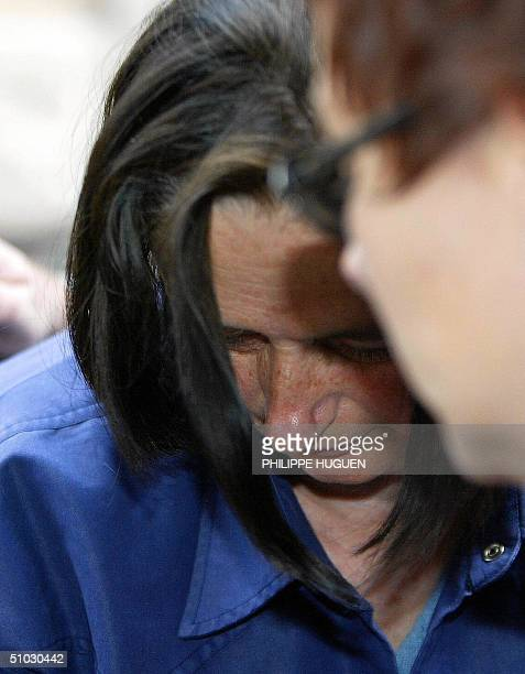 Former wife of French selfconfessed serial killer Michel Fourniret Monique Olivier arives for an a confrontation in the the Investigation Police...