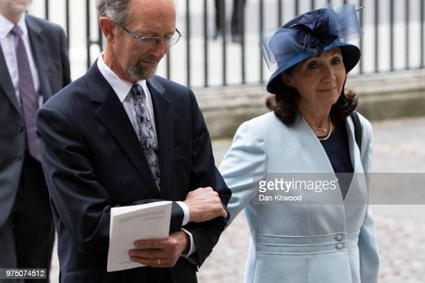 Former wife of Stephen Hawking Jane Hawking arrives at Westminster Abbey ahead of Professor Stephen Hawking's memorial service on June 15 2018 in...