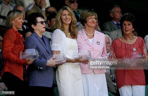 Former Wimbledon Champions Martina Navratilova Billie Jean King Steffi Graf Margaret Court and Maria Bueno stand in the Royal Box after being...