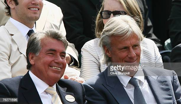 Former Wimbledon Men's Singles champion Bjorn Borg looks on prior to the Men's Singles final match between Roger Federer of Switzerland and Rafael...