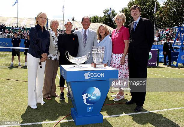 Former winner Martina Navratilova former British number one Ann Jones USA doubles player Lisa Raymond Chairman of Edgbaston Priory Club Mickey...