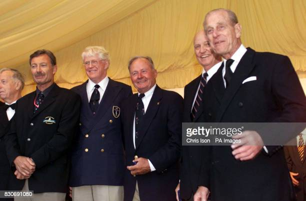 Former winners of the America's Cup line up at the opening ceremony for the America's Cup Jubilee in Cowes Isle of Wight with the Duke of Edinburgh *...