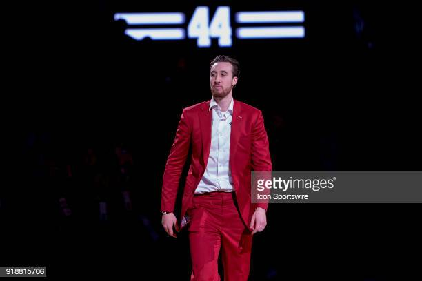 Former Wisconsin Badger Frank Kaminsky is honored at halftime and has his jersey retired during an college basketball game between Purdue...
