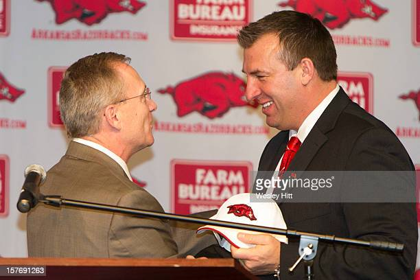Former Wisconsin Badger Head Coach Bret Bielema is introduced as the new Head Coach of the Arkansas Razorbacks by Athletic Director Jeff Long at a...