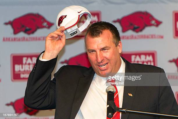 Former Wisconsin Badger Head Coach Bret Bielema speaks during his introduction as the new Head Coach of the Arkansas Razorbacks on December 5 2012 in...
