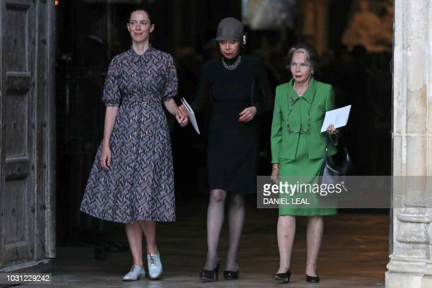Former wives of English theatre opera and film director Peter Hall actress Leslie Caron and opera singer Maria Ewing leave with his daugter Rebecca...