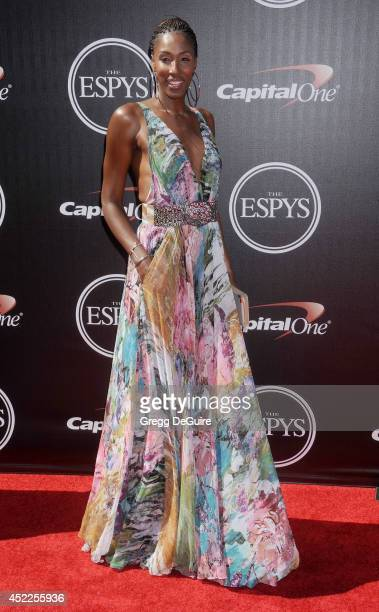 Former WNBA AllStar Lisa Leslie arrives at the 2014 ESPY Awards at Nokia Theatre LA Live on July 16 2014 in Los Angeles California