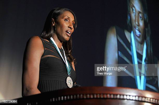Former WNBA basketball player Lisa Leslie speaks onstage at the 27th Annual Great Sports Legends Dinner to benefit the Buoniconti Fund to Cure...