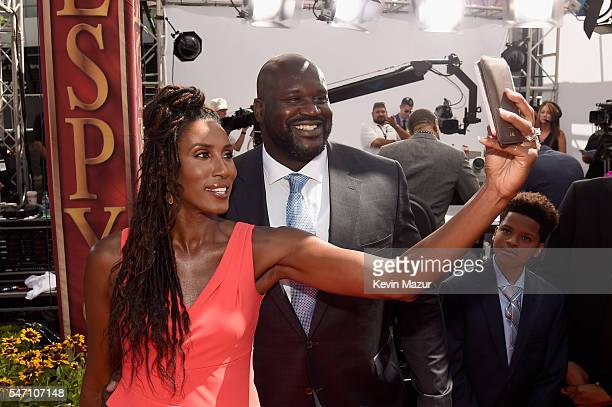 Former WNBA player Lisa Leslie and former NBA player Shaquille O'Neal attend the 2016 ESPYS at Microsoft Theater on July 13 2016 in Los Angeles...