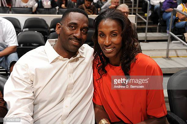 Former WNBA player Lisa Leslie and husband Michael Lockwood attend a game between the New York Liberty and the Los Angeles Sparks at Staples Center...