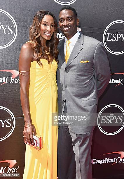 Former WNBA player Lisa Leslie and Michael Lockwood attend The 2015 ESPYS at Microsoft Theater on July 15 2015 in Los Angeles California