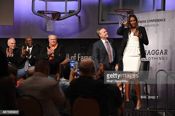 Former WNBA Player Lisa Leslie is introduced during the Class of 2015 Press Event as part of the 2015 Basketball Hall of Fame Enshrinement Ceremony...
