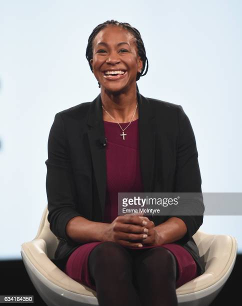 Former WNBA player Tamika Catchings speaks onstage during The 2017 MAKERS Conference Day 2 at Terranea Resort on February 7 2017 in Rancho Palos...